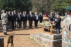 The four Lowveld Moth Shellholes together with Regiment Louis Botha Barberton at the Delville Wood parade held at the graveside of Evan Davies