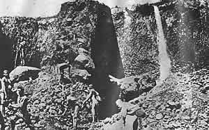 Sometimes an overburden of 18 feet had to be removed in order to reach the layers of alluvial gold. On a proclaimed gold field, no digging was permitted between sunset and sunrise or on Sundays.