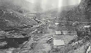 An early photo of Pilgrims Rest where gold was first discovered in 1873 by Wheel barrow Patterson